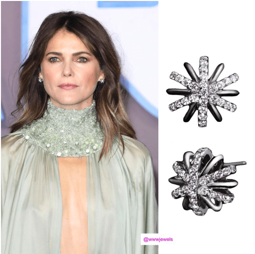 Keri Russel As Seen Wearing Large Platinum Diamond Snowflake Earrings - Alexandra Mor online