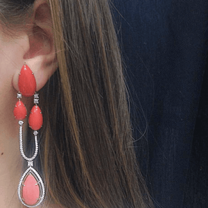 Chandelier Earrings Medi Coral & Diamond