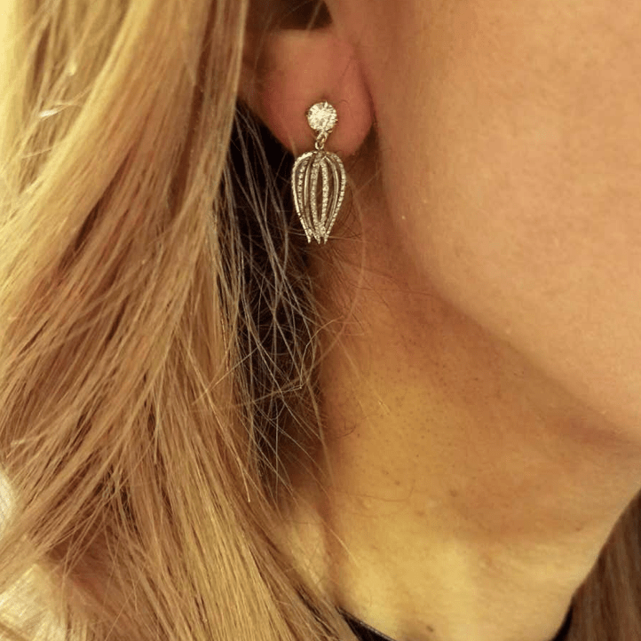 Load image into Gallery viewer, Curved Diamond Petite Earrings