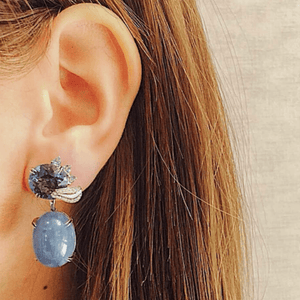 London Blue Topaz & Aquamarine Oval Cabochon Medi-Leaf Earrings - Alexandra Mor online