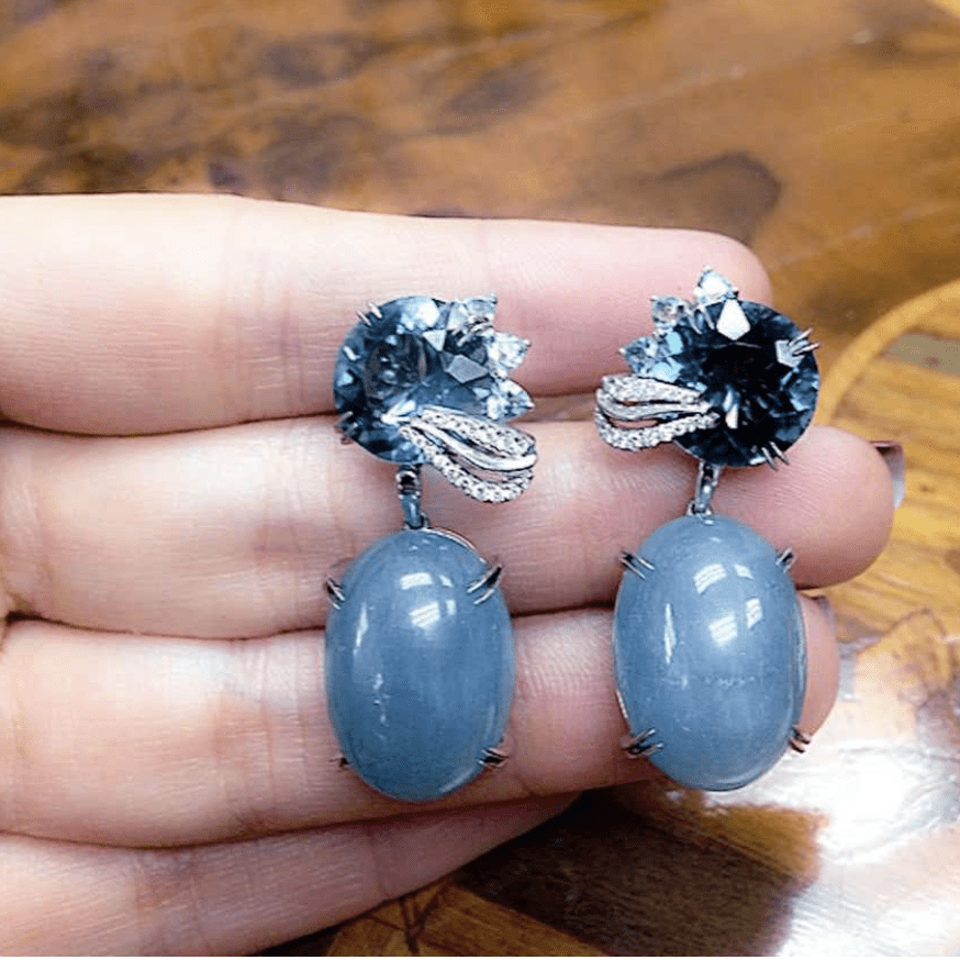 London Blue Topaz & Aquamarine Oval Cabochon Medi-Leaf Earrings
