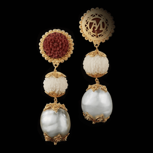 Load image into Gallery viewer, Three-tier Carved Sawo Wood Flower & Baroque Pearl Earrings - Alexandra Mor online