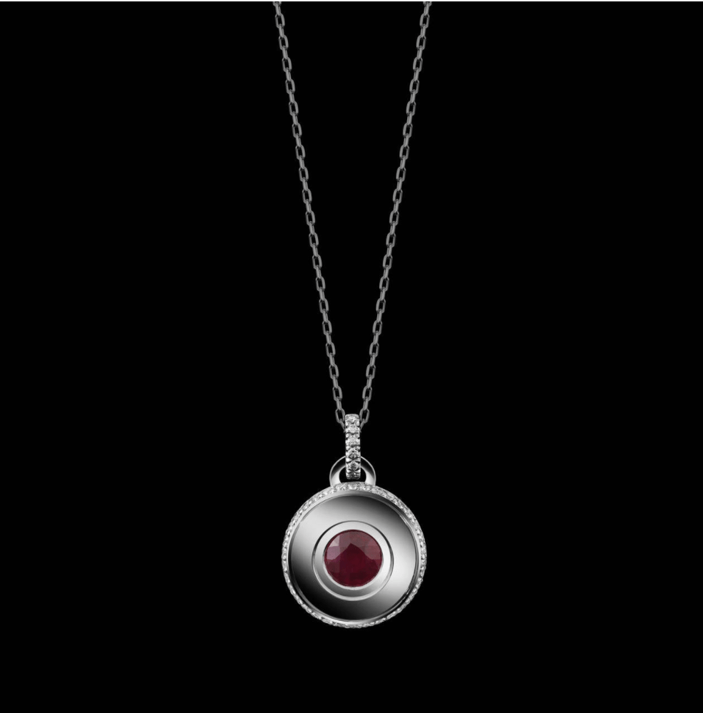 Round Brilliant-Cut Garnet and Diamond January Birthstone Pendant - Alexandra Mor online