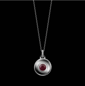 Round Brilliant-Cut Garnet and Diamond January Birthstone Pendant