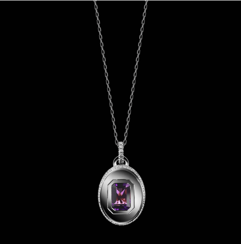 Emerald-Cut Amethyst and Diamond February Birthstone Pendant