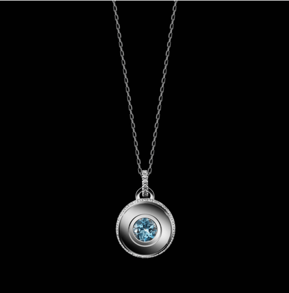 Round Brilliant-Cut Aquamarine and Diamond March Birthstone Pendant