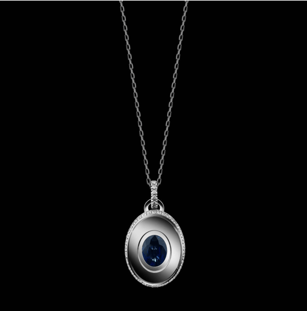 Oval-Cut Blue Sapphire and Diamond September Birthstone Pendant