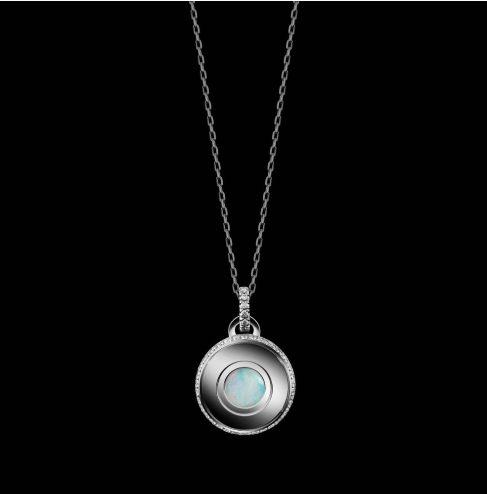 Round-Cut Opal and Diamond October Birthstone Pendant