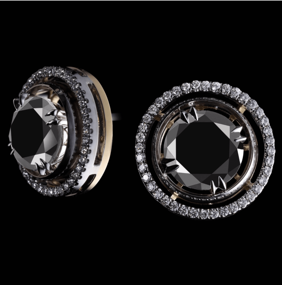 Load image into Gallery viewer, Round Brilliant-Cut Black Diamond Cufflinks