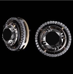 Round Brilliant-Cut Black Diamond Cufflinks - Alexandra Mor online
