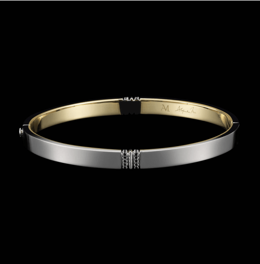 Oval-Shaped Narrow Black Diamond Gold Platinum Cuff
