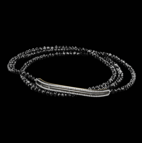 Black Diamond Gold Platinum Strand and Bar Bracelet - Alexandra Mor online