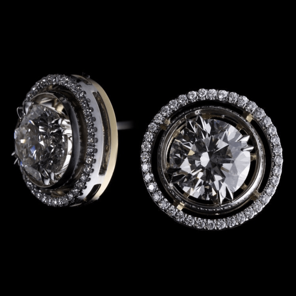 Load image into Gallery viewer, Round Diamond Studs with Diamond Earring Jackets