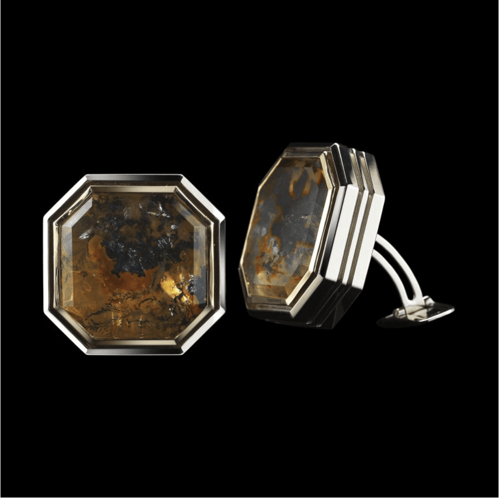 Octagon-Cut Dendritic Quartz Diamond Gold Cufflinks