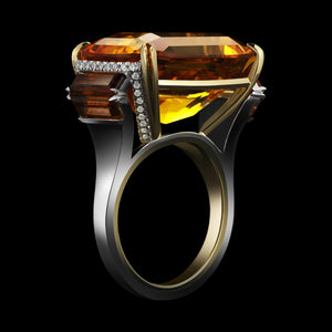 Cushion-Cut Deep-Yellow Citrine & Diamond Ring