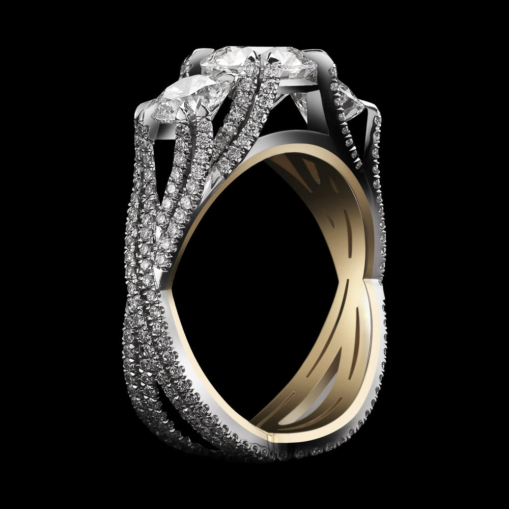 Three Stone Brilliant-Cut Woven Diamond Ring - Alexandra Mor online