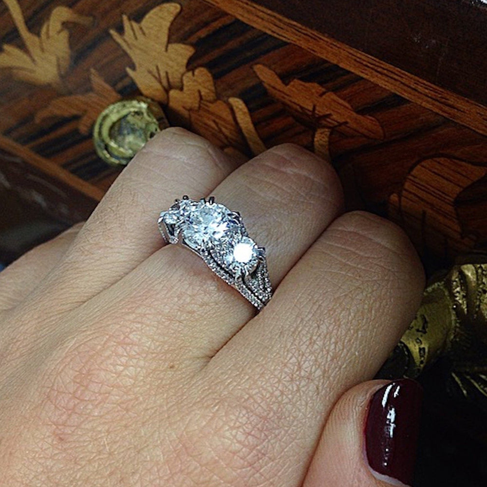 Three Stone Brilliant-Cut Woven Diamond Ring