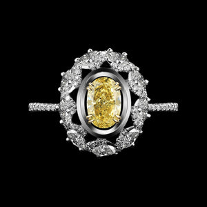Yellow Diamond Blossom Oval-Cut Ring