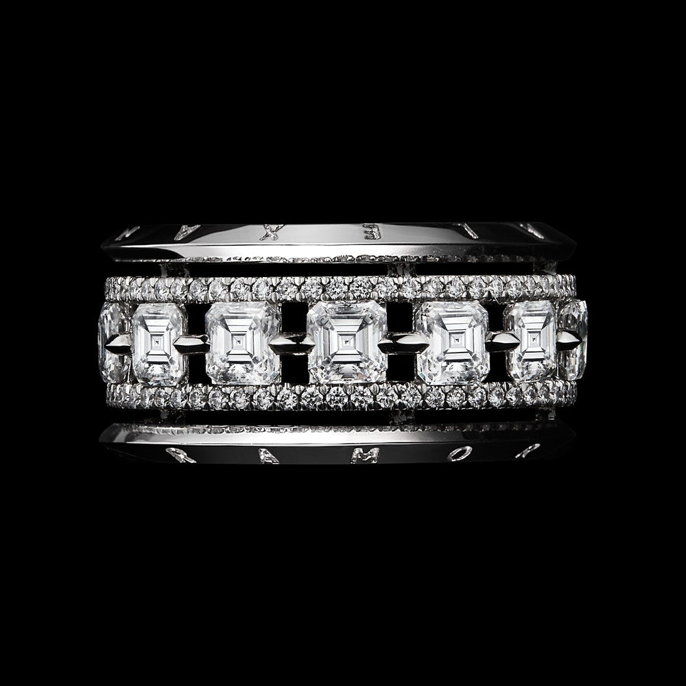 Asscher-Cut Diamond Platinum Signature Narrow Eternity Band Ring