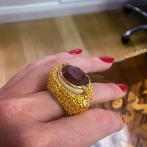 Load image into Gallery viewer, Oval-Cut Red Garnet & Gold Filigree Tagua Seed Ring - Alexandra Mor online