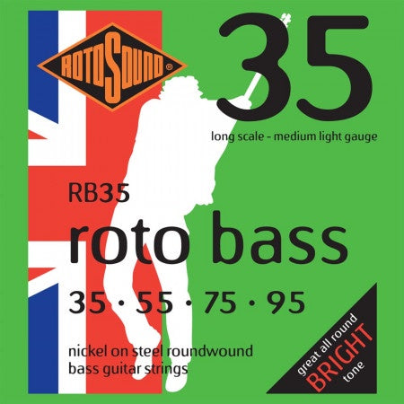 RB35 Nickel On Steel Roundwound Bass Guitar Strings 0.35-0.95