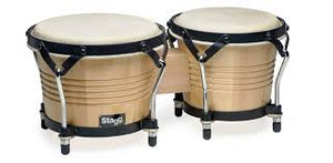 "Stagg Wooden Bongos 7.5"" + 6.5"" Natural - BW-200-N"