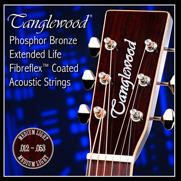 Tanglewoos Phosphor Bronze Medium Light Acoustic Strings .012-.053