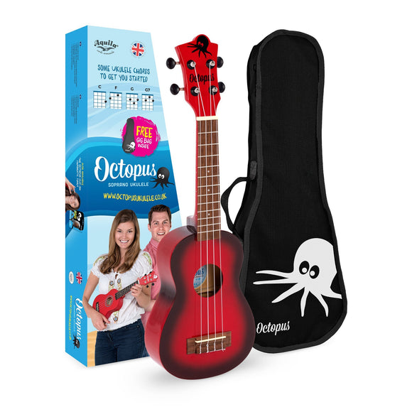 Octopus soprano ukulele ~ Red burst