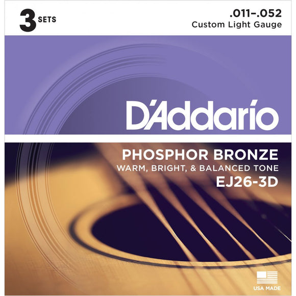 D'Addario 11 Light Phosphor Bronze Guitar Strings 0.011-0.052 3 Pack