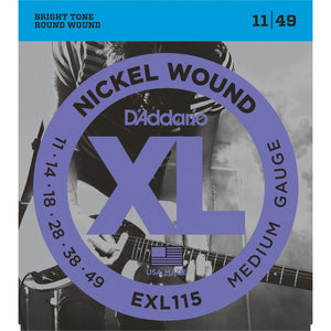EXL115 D'addario XL Electric Guitar Strings .011-.049