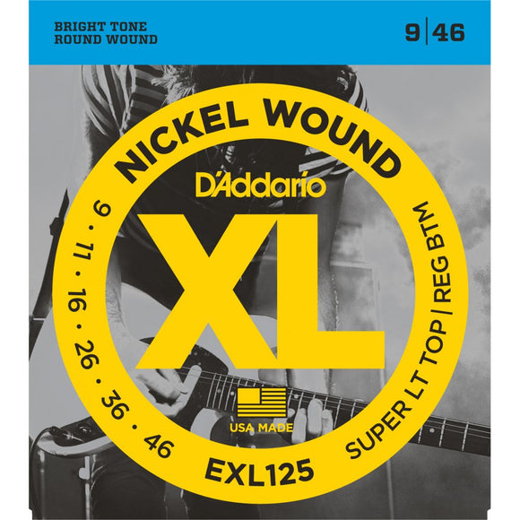 EXL125 D'addario XL Super Light Top Regular Bottom Electric Guitar Strings 0.09-0.46
