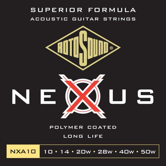 NXA10 NEXUS Superior Formuila 10-50, Polymer Coated Acoustic Guitar Strings