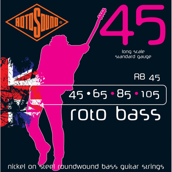 RB45 Nickel On Steel Roundwound Bass Guitar Strings 0.45-1.05