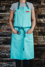 Load image into Gallery viewer, Turquoise Blue Ice Cream Apron - Cooks Who Feed Inc