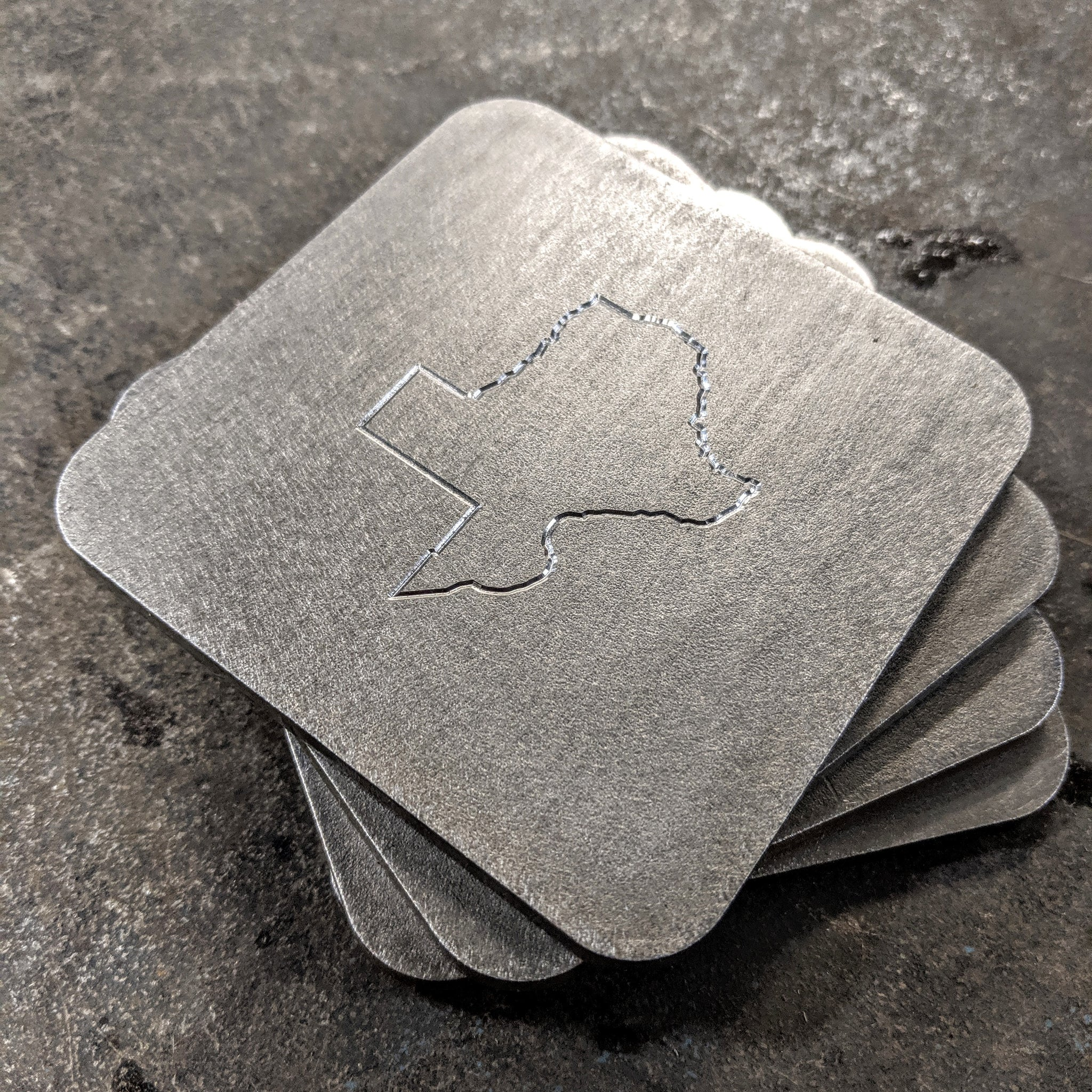 Texas Outline Stainless Steel Coasters
