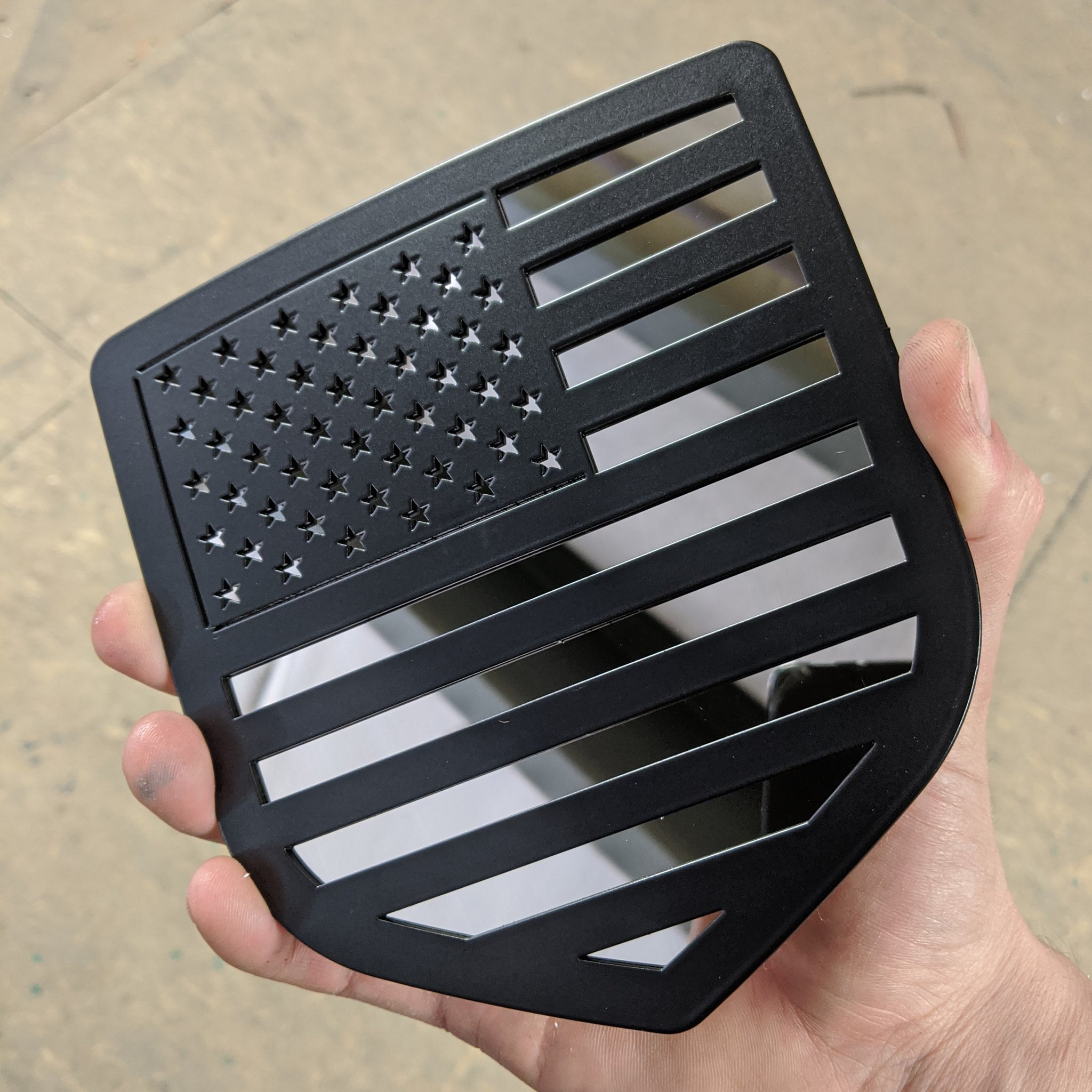 American Flag Tailgate Emblem - Full Flag - Black on Polished Stainless