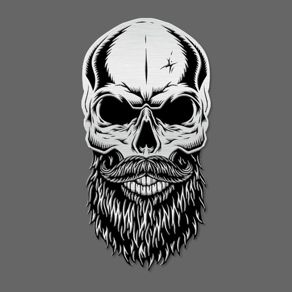 Bearded Skull Emblem - Stainless Steel