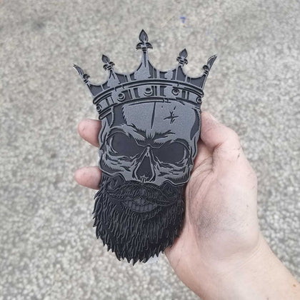 Bearded Skull Badge w/Crown - Black and Gunmetal