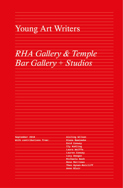 Bright red cover with thin white lines running across the front like a notebook. Left aligned large white serif style font reads 'Young Art Writers', then in italics below the title 'RHA Gallery + Temple Bar Gallery + Studios'.