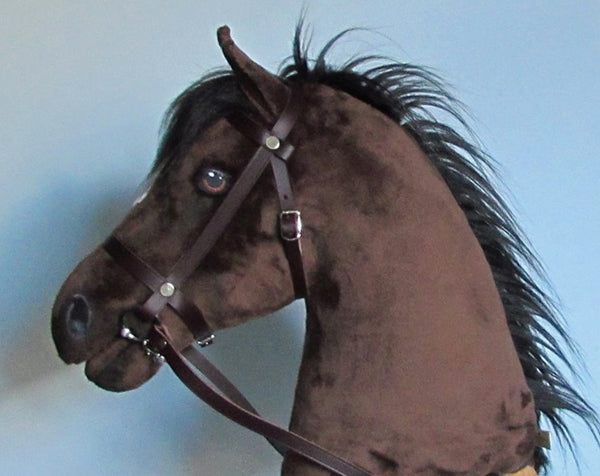 Dark bay Hobby Horse with removable leather bridle