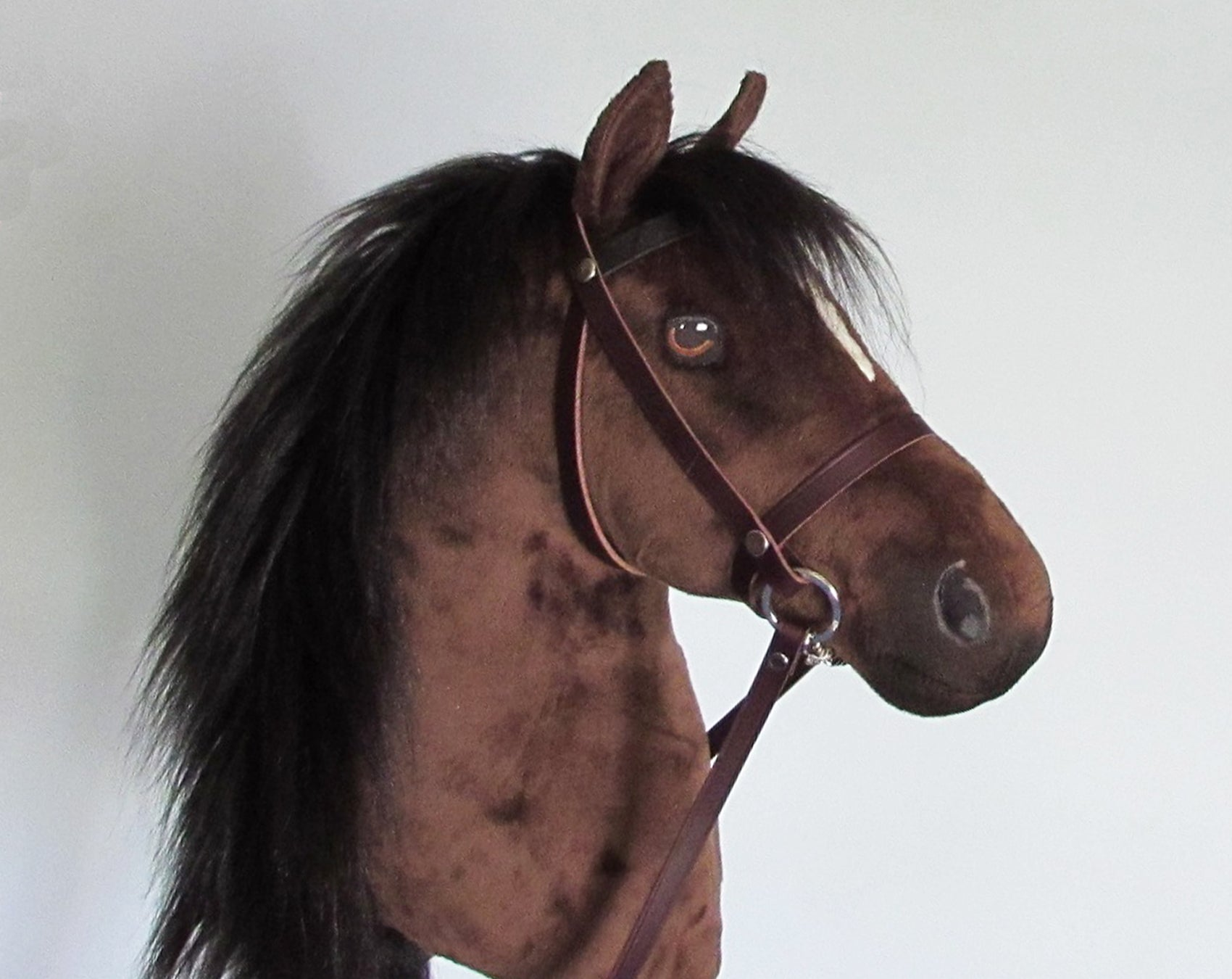 Bay Hobby Horse closed mouth with removable leather bridle