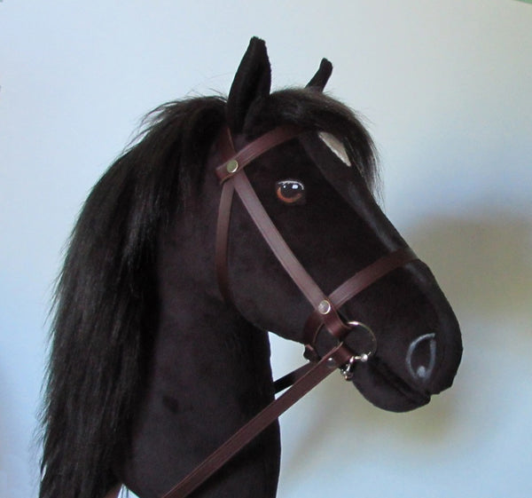 Black Hobby Horse open mouth with removable leather bridle