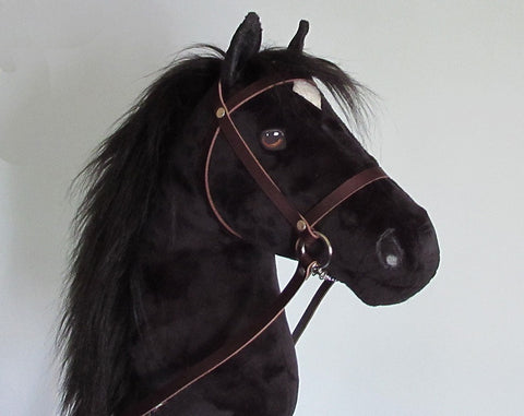 Black Hobby Horse closed mouth with removable leather bridle