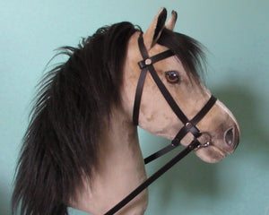 Buckskin Hobby Horse open mouth with removable leather bridle