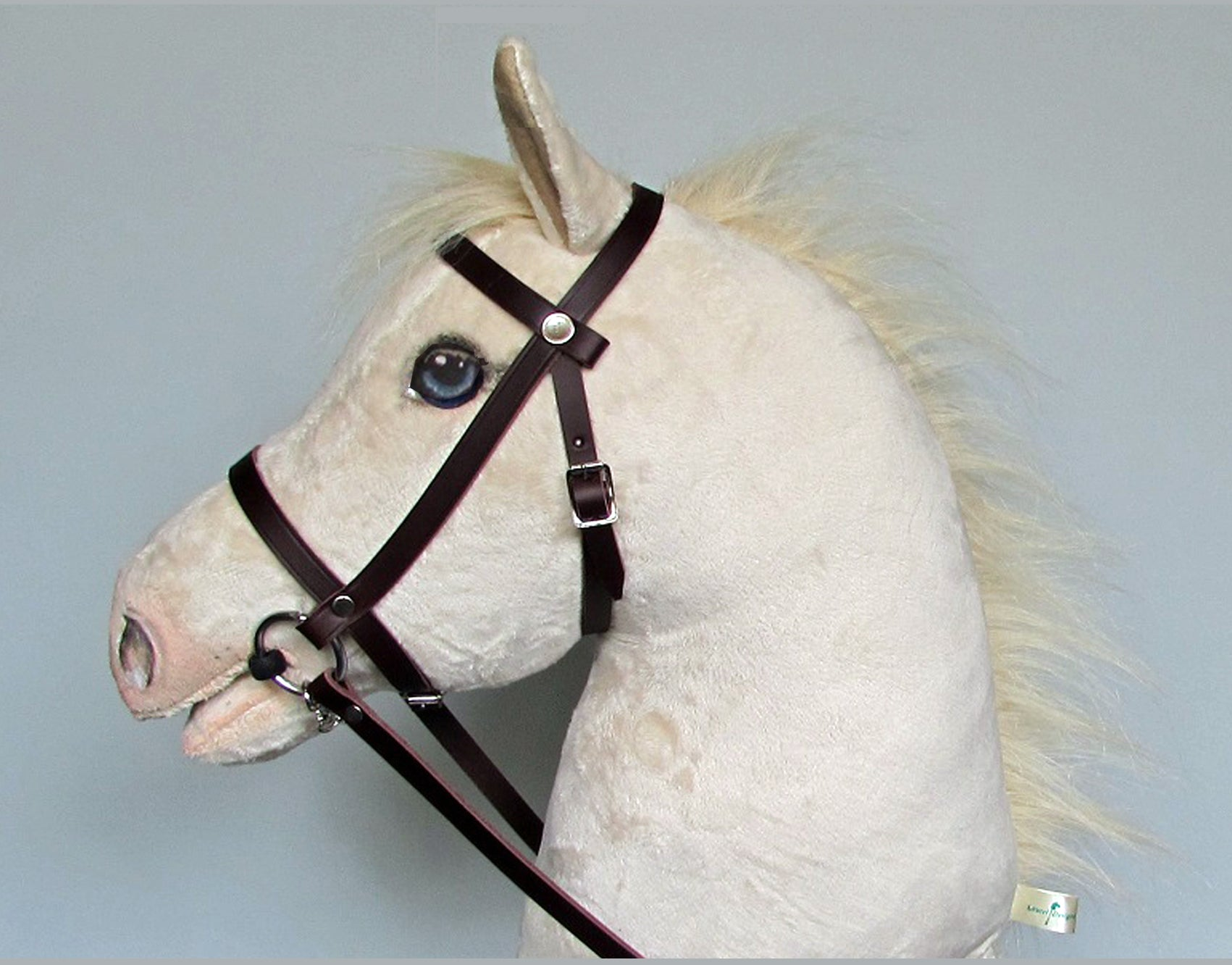 Cremello Hobby Horse open mouth with removable leather bridle