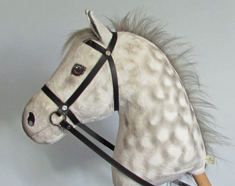 Dapple grey Hobby Horse closed mouth with removable leather bridle