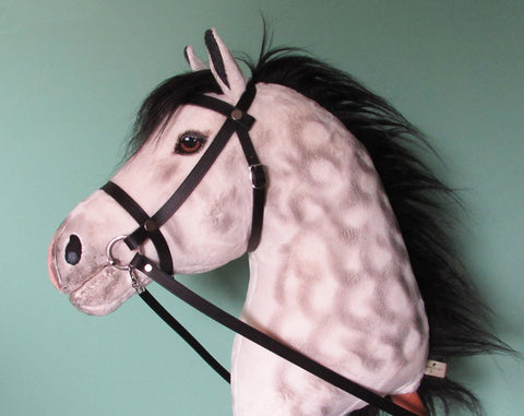 Dapple grey black mane Hobby Horse open mouth with removable leather bridle