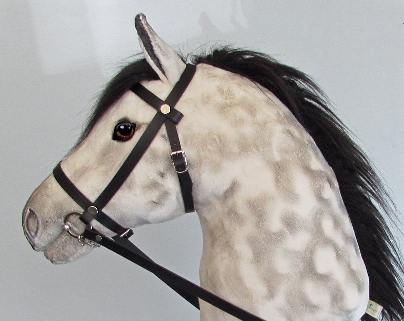 Dapple grey black mane Hobby Horse with removable leather bridle