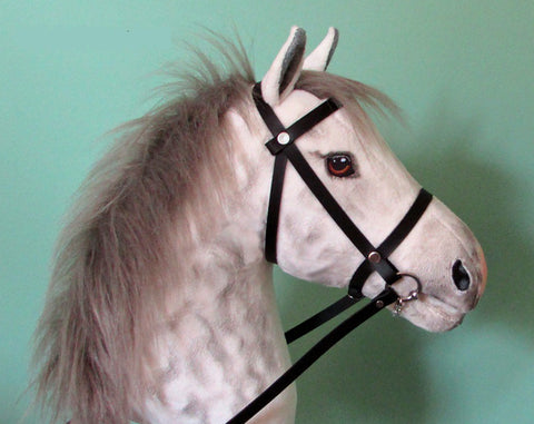 Dapple grey grey mane Hobby Horse with removable leather bridle