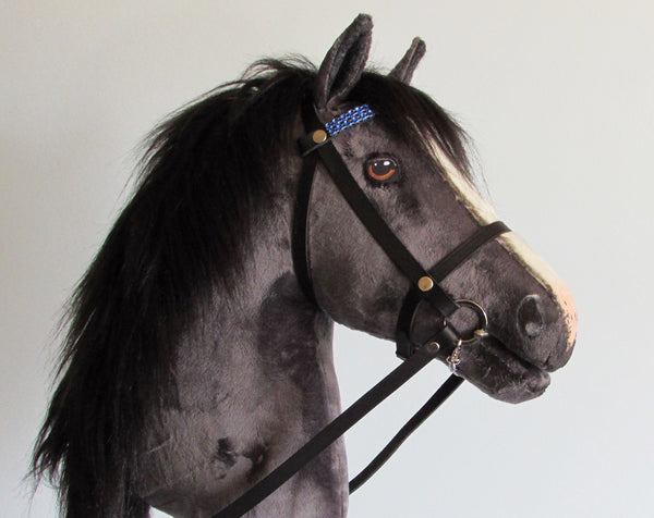 Dark grey Hobby Horse open mouth with removable leather bridle